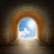 Way to new life. Light on end of tunnel.  Positive thinking concept.
