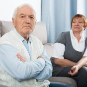 Elderly couple quarreled and offended at each other